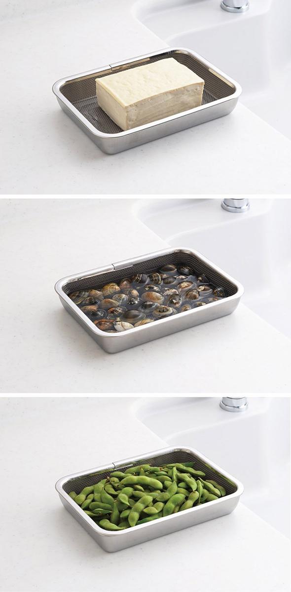 日本品牌【Arnest】多功能不銹鋼托盤三入+篩盤組