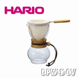 【HARIO】濾布橄欖木手沖咖啡壺組-1-2杯量/DPW-1-OV