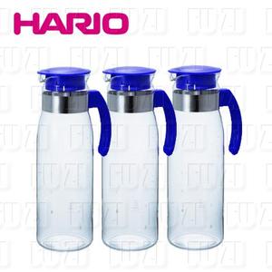 【HARIO】耐熱抗菌 玻璃冷水壼1400ml (藍色/3入)