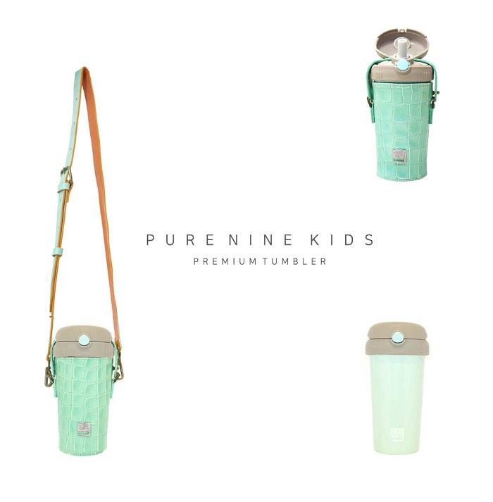 (複製)韓國PURENINE|Kids兒童時尚彈蓋保溫杯-290ML-湖綠色皮套+黑蓋瓶組