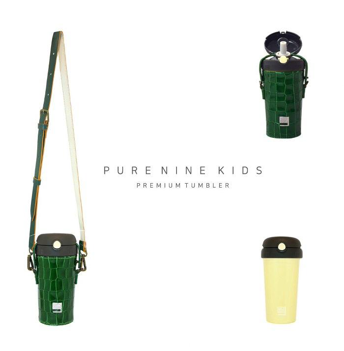(複製)韓國PURENINE Kids兒童時尚彈蓋保溫杯-290ML-湖綠色皮套+灰蓋瓶組