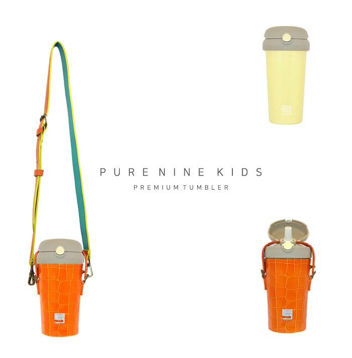 (複製)韓國PURENINE|Kids兒童時尚彈蓋保溫杯-290ML-橘色皮套+黑蓋瓶組
