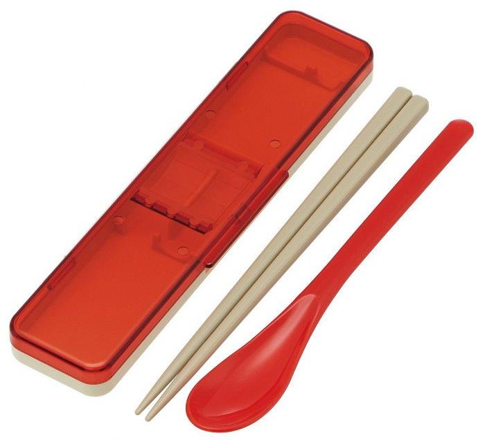 Skater|復古風環保筷子+湯匙組 透明蓋 18CM-紅