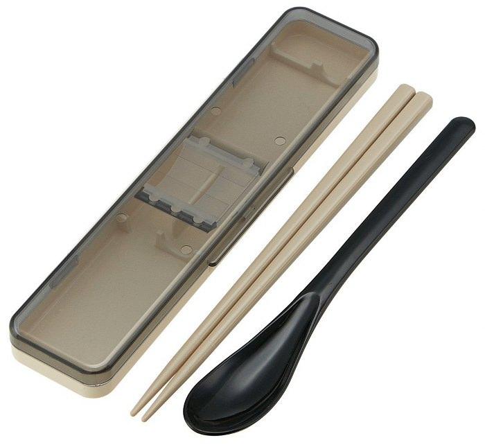Skater|復古風環保筷子+湯匙組 透明蓋 18CM-黑