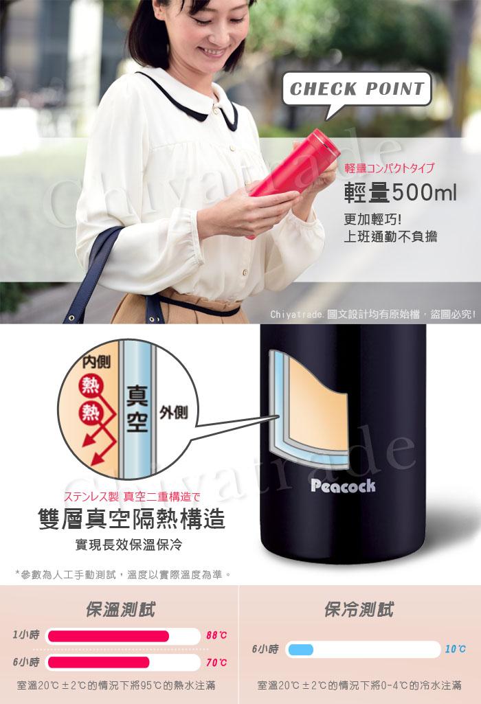 (複製)日本孔雀Peacock|商務職人不鏽鋼保溫杯500ML-黑咖啡