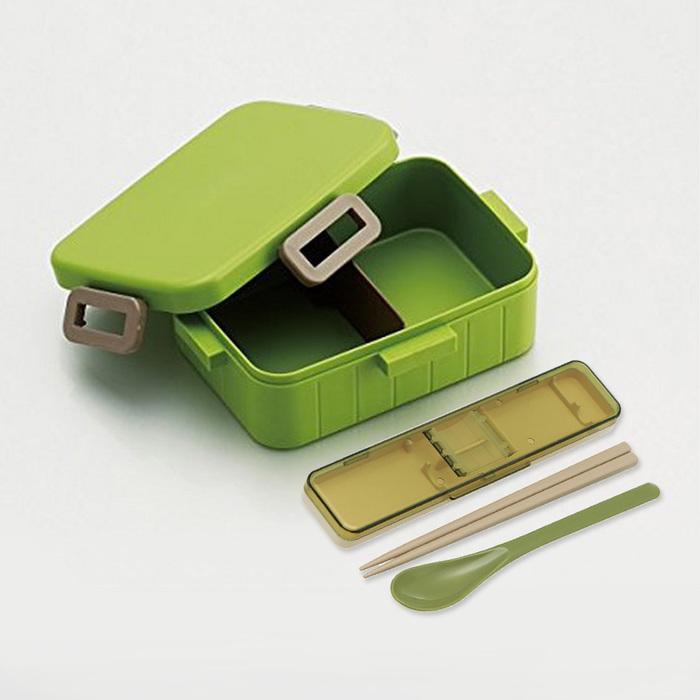Skater|無印風便當盒 保鮮餐盒筷子組 650ML原野綠