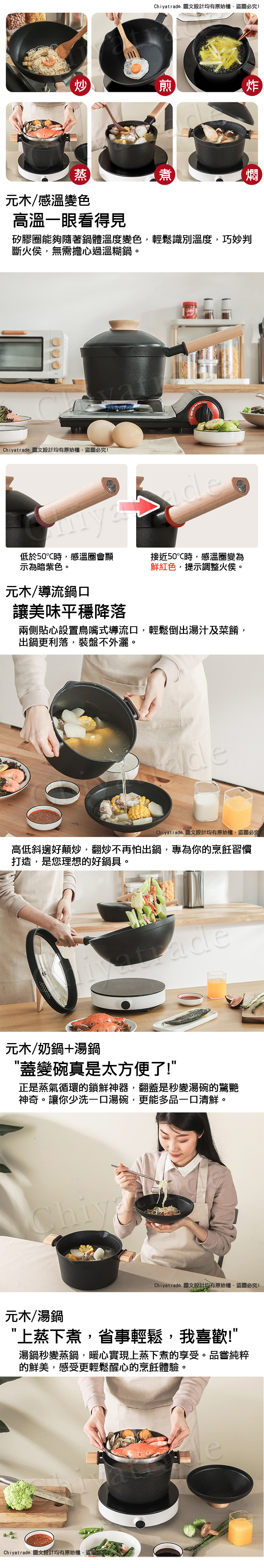 (複製)Taste Plus|悅味元木 內外不沾鍋 泡麵鍋 牛奶鍋 16cm/1.6L IH全對應設計(蓋變碗設計)