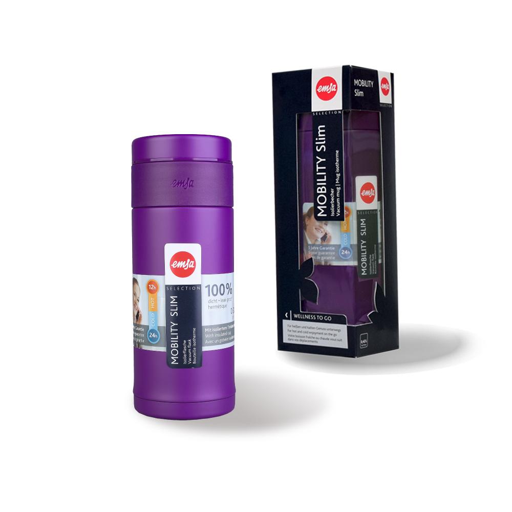 德國EMSA|隨行輕量保溫杯MOBILITY Slim 320ml-黑莓紫