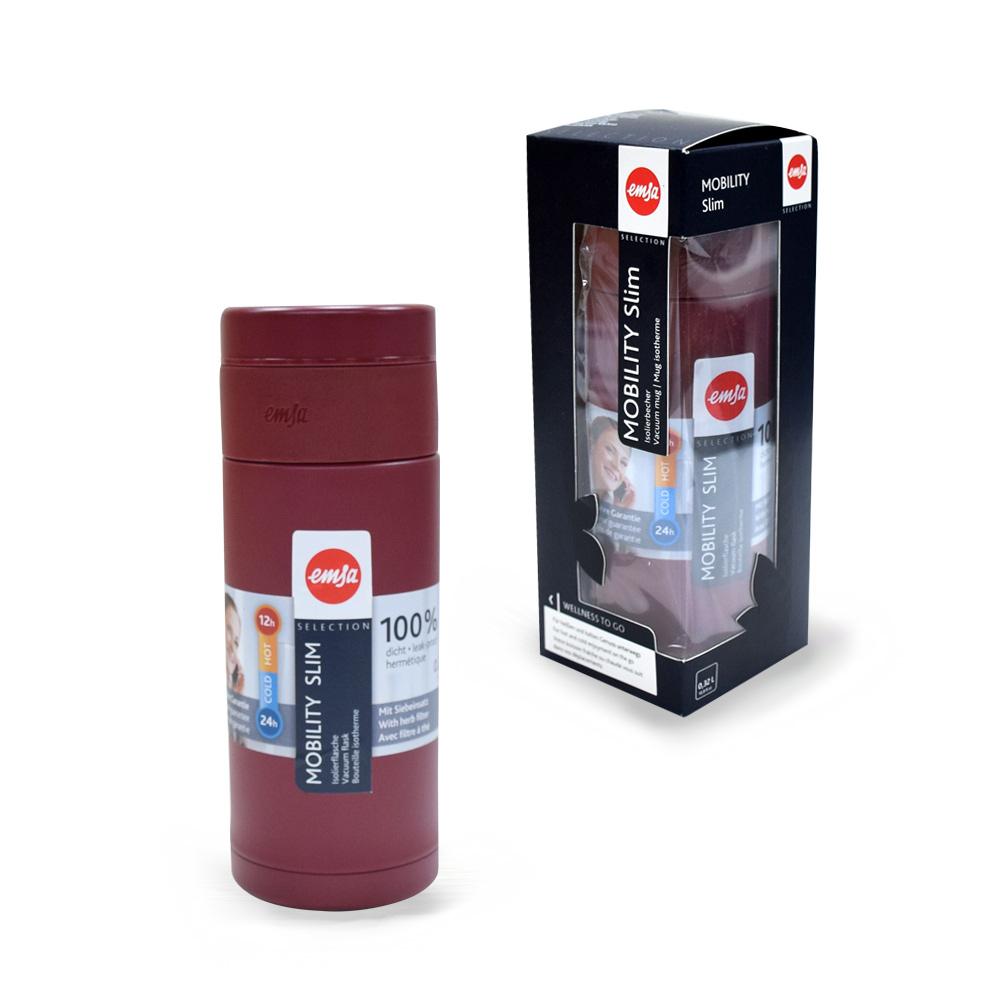 德國EMSA|隨行輕量保溫杯MOBILITY Slim 320ml-酒紅