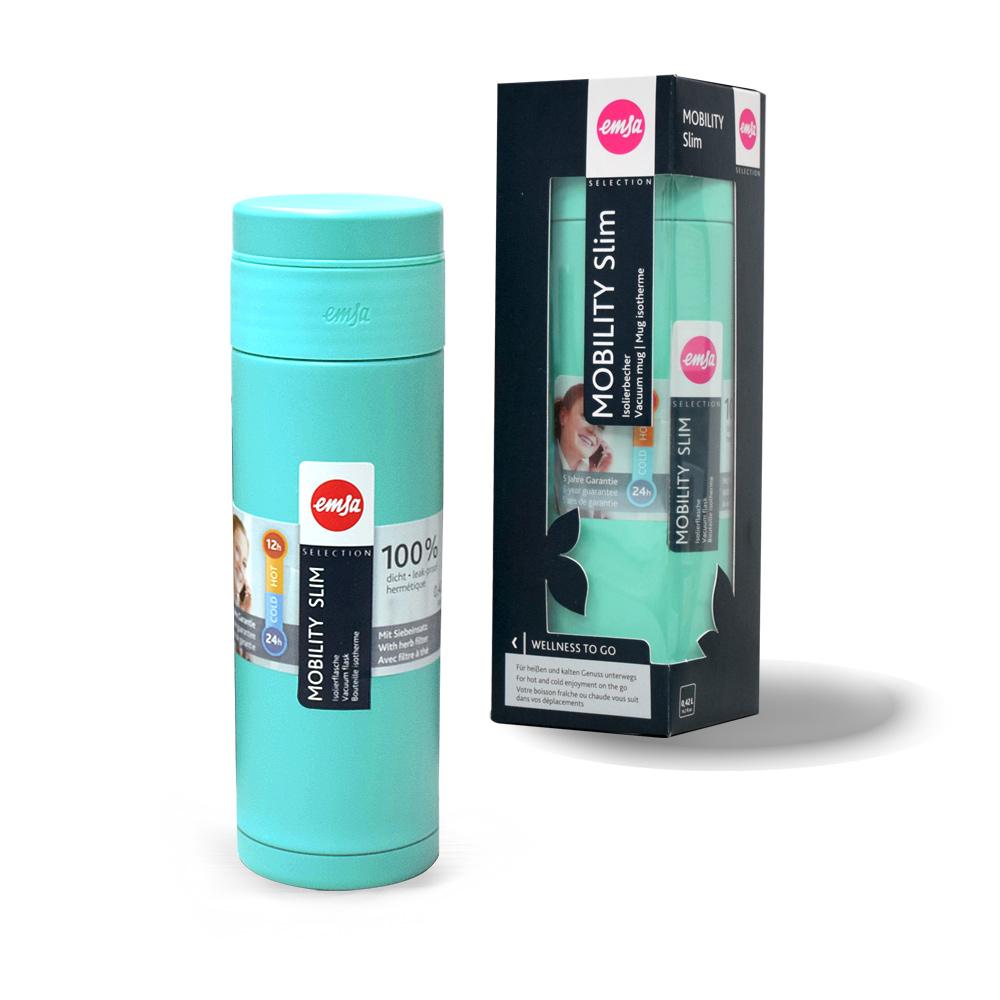 德國EMSA|隨行輕量保溫杯MOBILITY Slim 420ml-悠藍