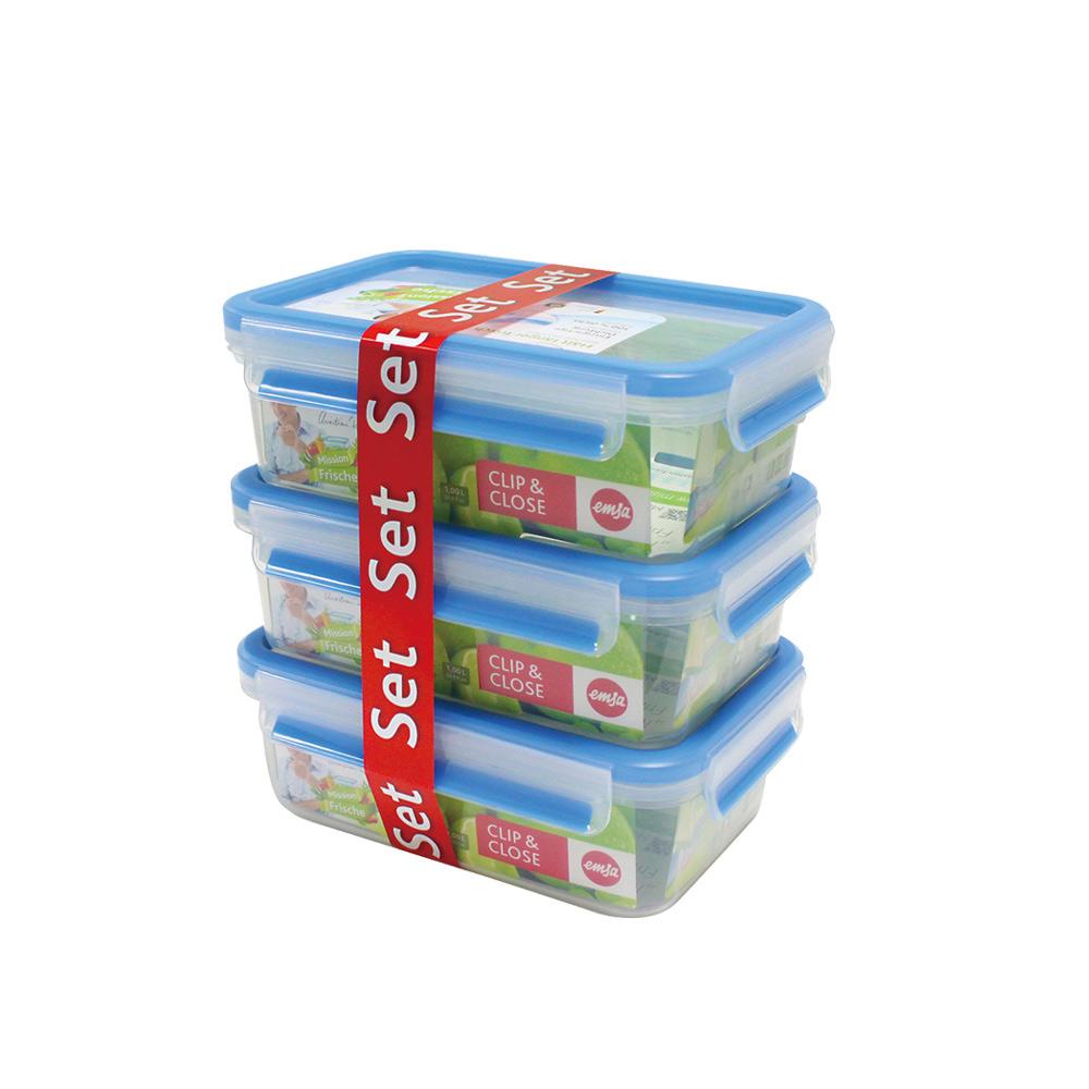 德國EMSA|專利上蓋無縫3D保鮮盒德國原裝進口-PP材質(保固30年)(1.0L)超值3件組