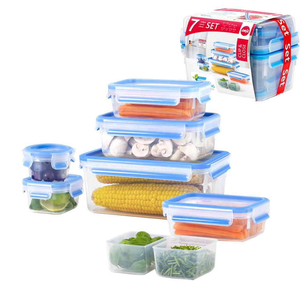 德國EMSA|專利上蓋無縫3D保鮮盒德國原裝進口-PP材質(保固30年)(超值7件組)