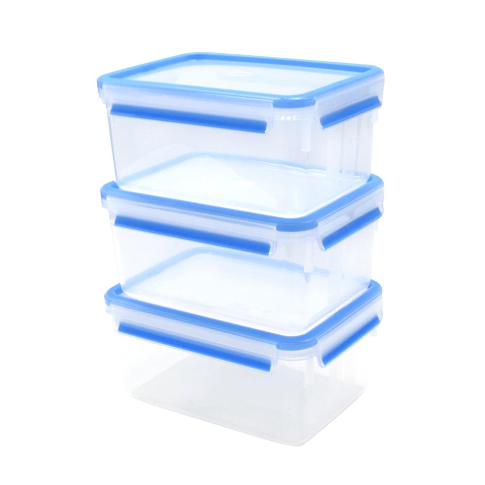德國EMSA|專利上蓋無縫3D保鮮盒德國原裝進口-PP材質(保固30年) (2.3LX3) 藍色 三件組