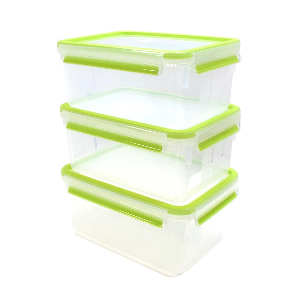 德國EMSA 專利上蓋無縫3D保鮮盒德國原裝進口-PP材質(保固30年) (2.3LX3)三件組-嫩綠色