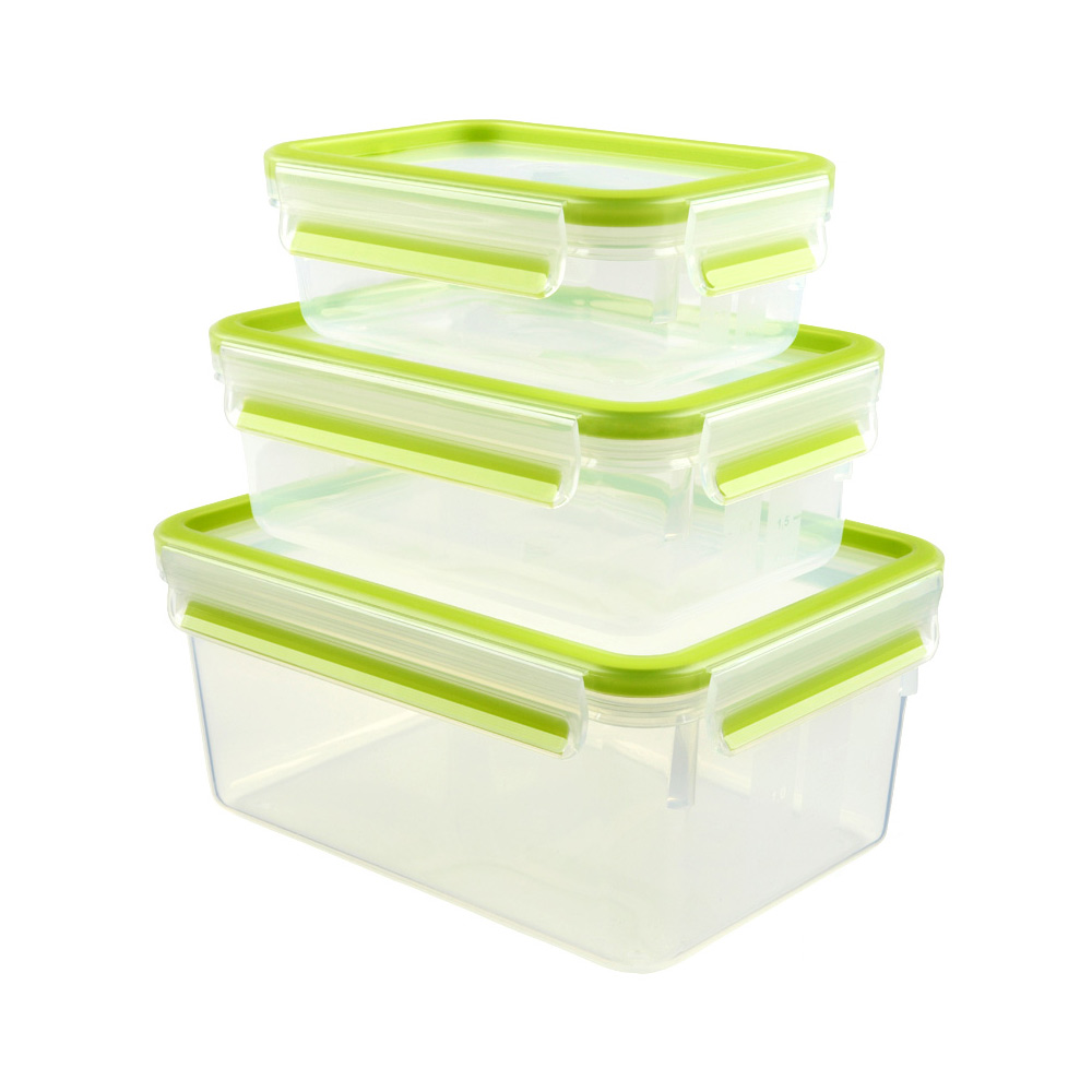 德國EMSA|專利上蓋無縫3D保鮮盒德國原裝進口-PP材質 保固30年 嫩綠色(0.55/1.0/2.3L)超值3件組