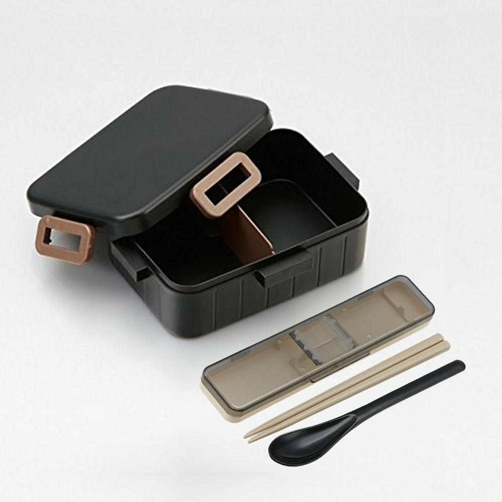 Skater|無印風便當盒 保鮮餐盒筷子組 650ML消光黑