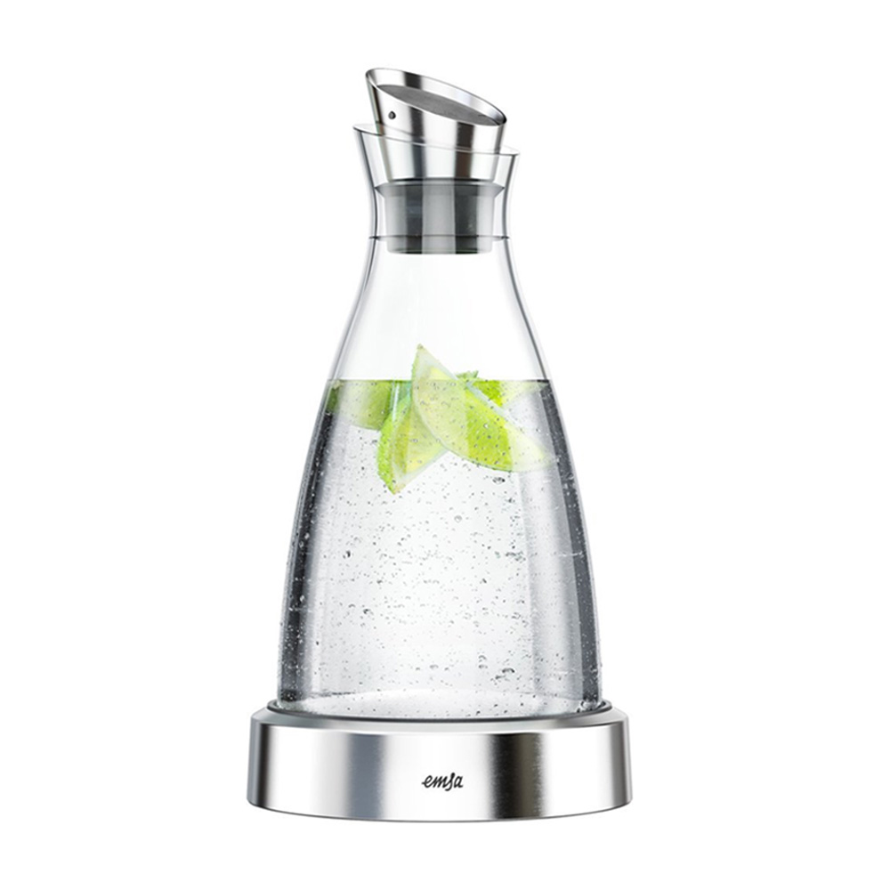 德國EMSA│頂級玻璃保冷水瓶 FLOW冰樽 德國原裝進口1000ml(不鏽鋼)-原鋼色