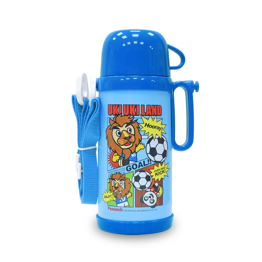 日本孔雀Peacock|兒童隨身316不鏽鋼保溫杯水壺580ML(握把+背帶設計)-藍運動獅