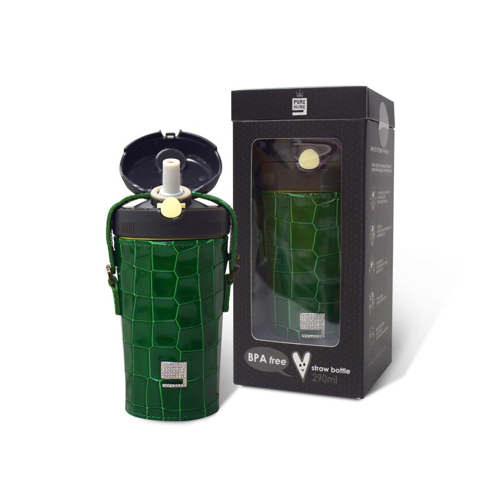 韓國PURENINE Kids兒童時尚彈蓋保溫杯-290ML-墨綠色皮套+黑蓋瓶組