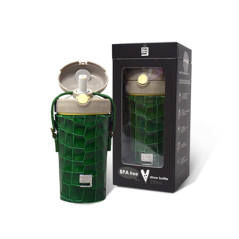 韓國PURENINE|Kids兒童時尚彈蓋保溫杯-290ML-墨綠色皮套+灰蓋瓶組