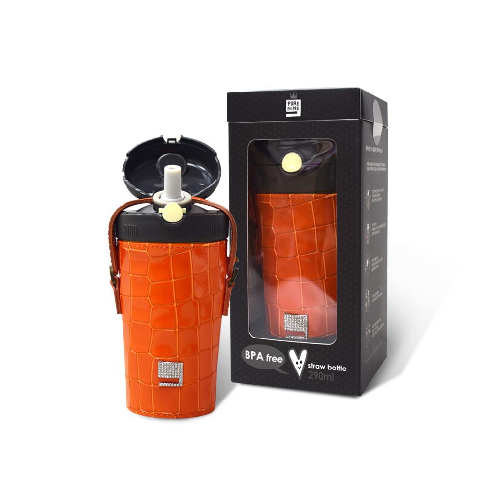 韓國PURENINE|Kids兒童時尚彈蓋保溫杯-290ML-橘色皮套+黑蓋瓶組