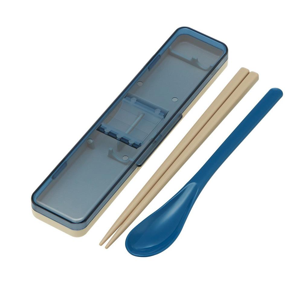 Skater|復古風環保筷子+湯匙組 透明蓋 18CM-藍