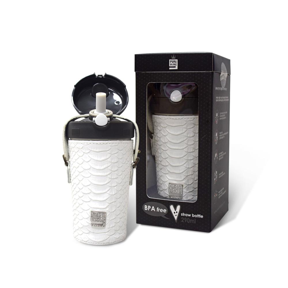 韓國PURENINE|Kids兒童時尚彈蓋保溫杯-290ML-白色皮套+黑蓋瓶組