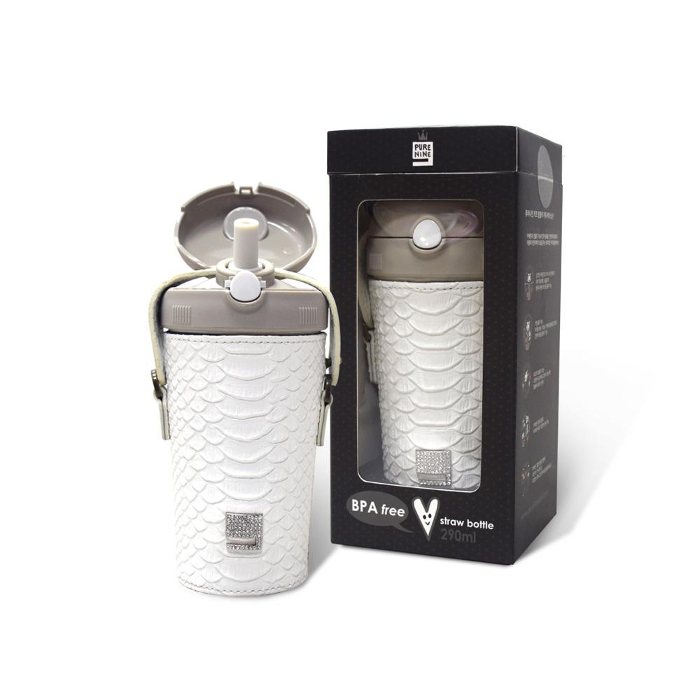 韓國PURENINE|Kids兒童時尚彈蓋保溫杯-290ML-白色皮套+灰蓋瓶組