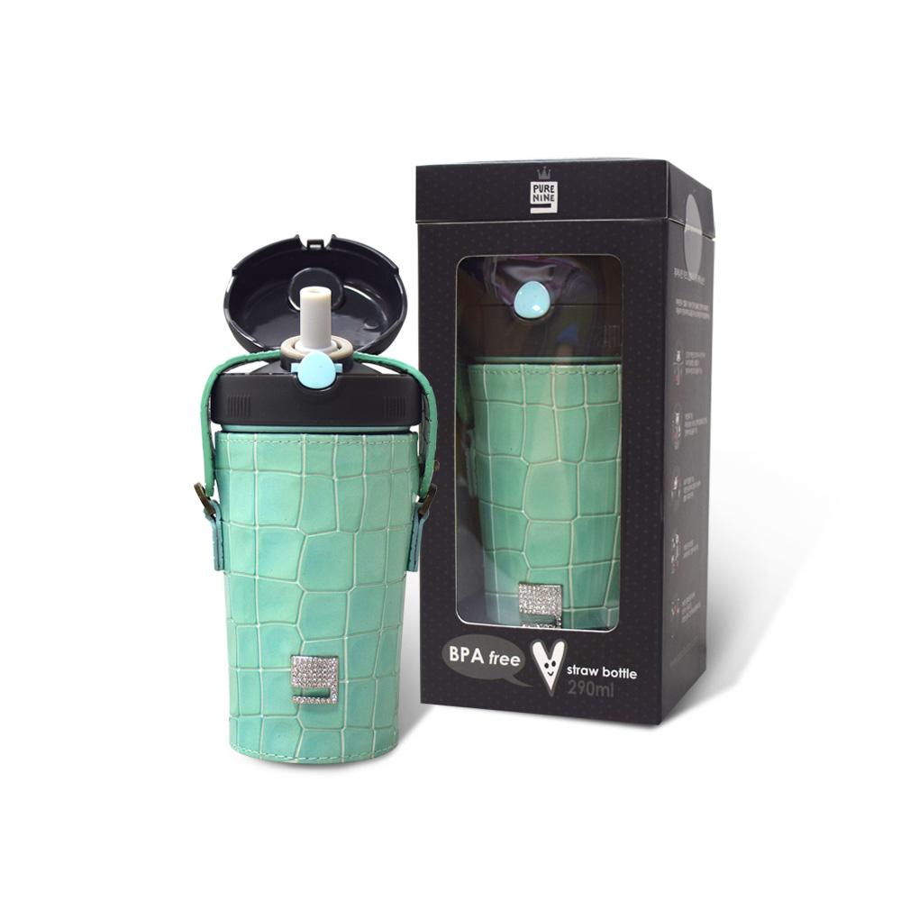 韓國PURENINE|Kids兒童時尚彈蓋保溫杯-290ML-湖綠色皮套+黑蓋瓶組
