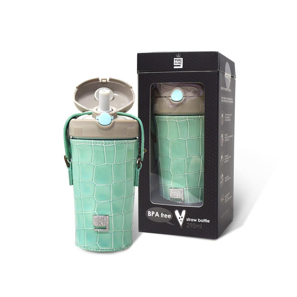 韓國PURENINE|Kids兒童時尚彈蓋保溫杯-290ML-湖綠色皮套+灰蓋瓶組