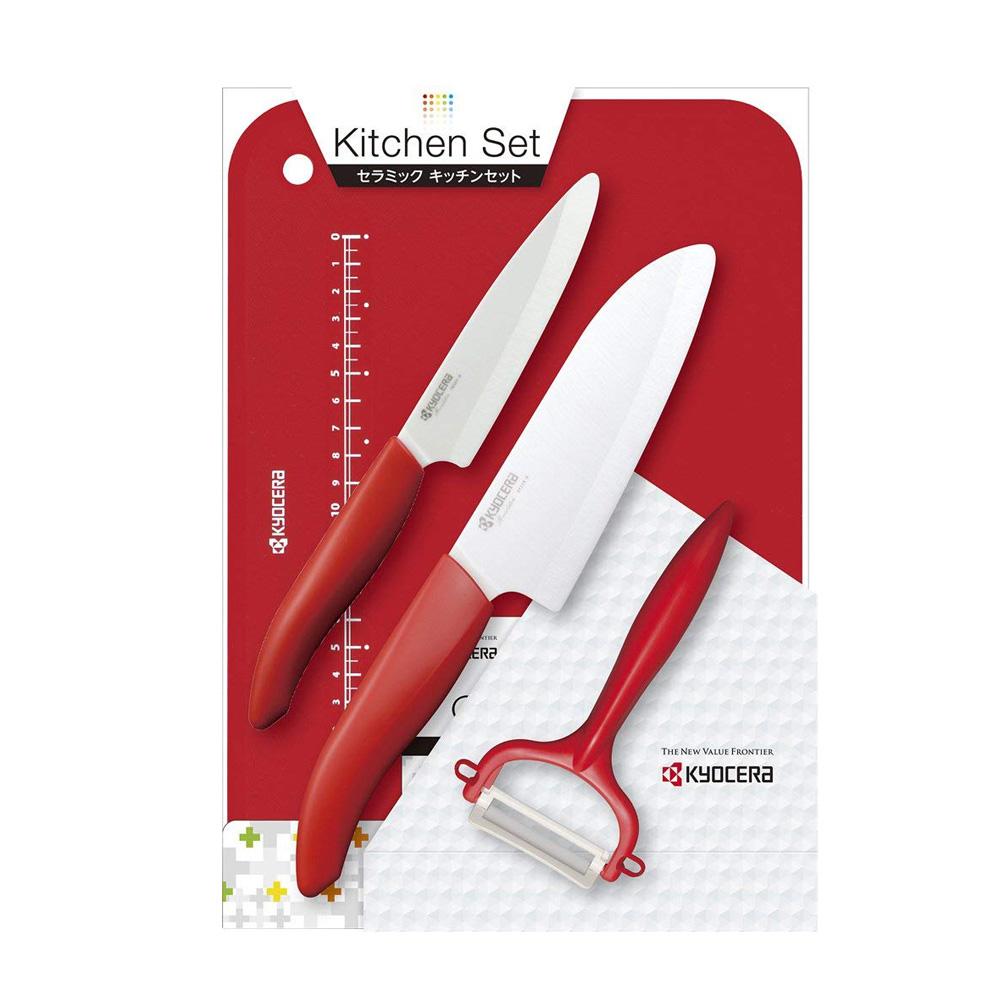 KYOCERA日本京瓷|抗菌陶瓷刀 削皮器 砧板 超值四件組-紅色