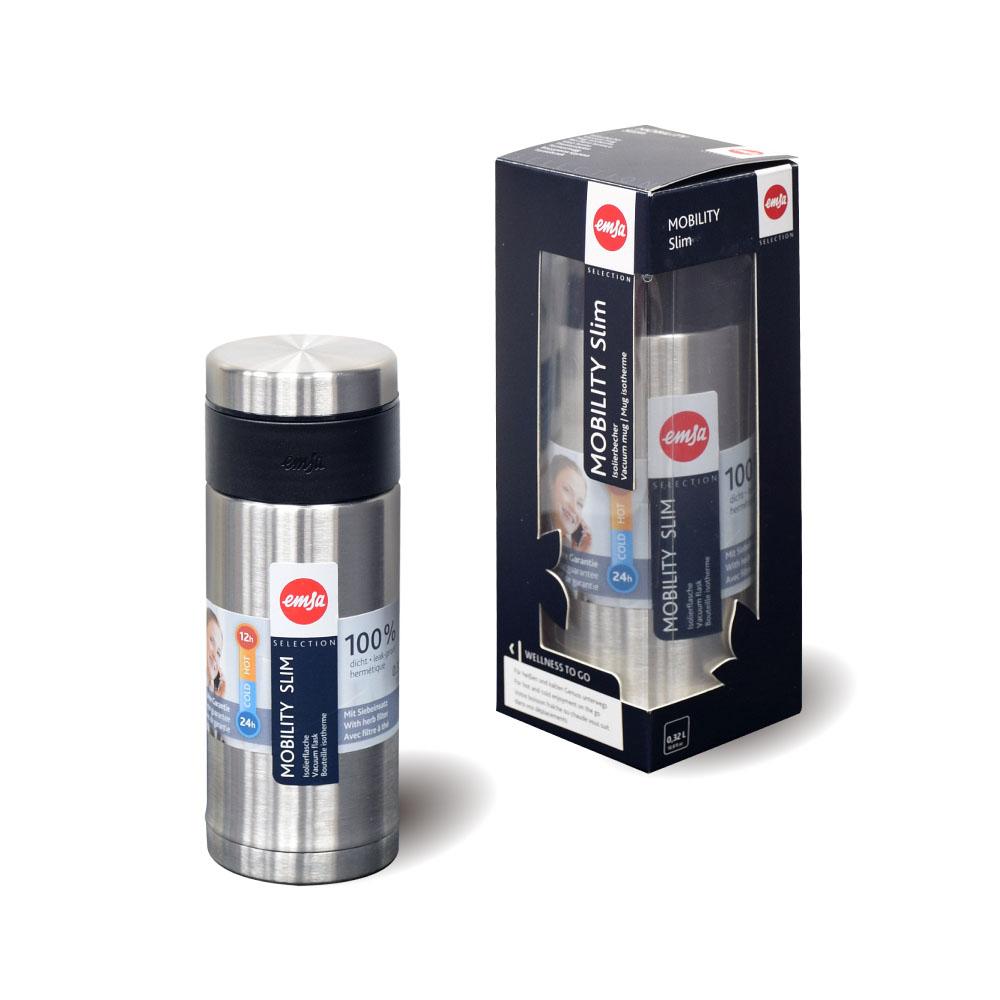 德國EMSA|隨行輕量316不鏽鋼保溫杯 MOBILITY Slim 320ml-原鋼色