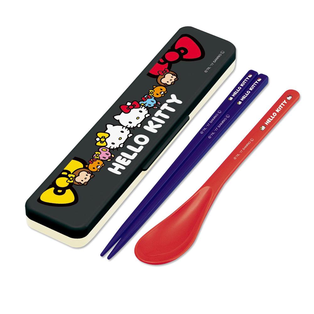 Skater|環保筷子+湯匙組 18CM-凱蒂貓姊妹