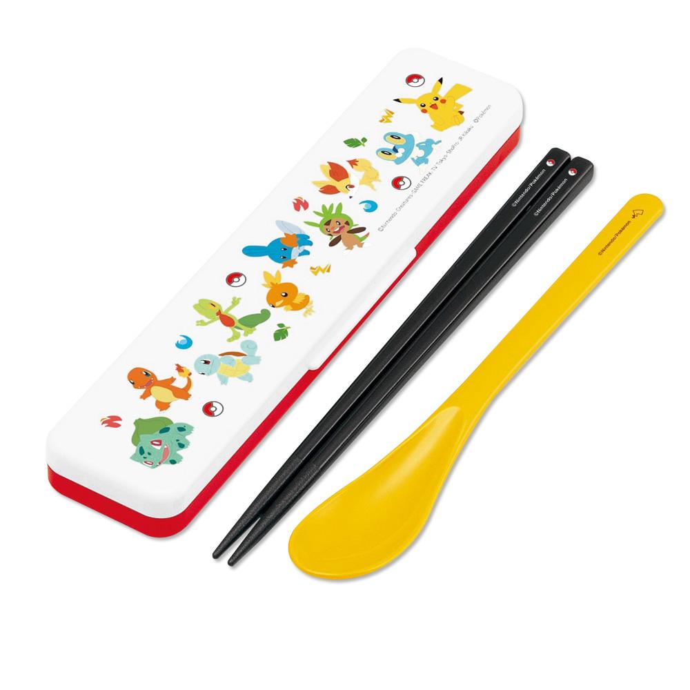 Skater|寶可夢 環保筷子+湯匙組 18CM-御三家大集合