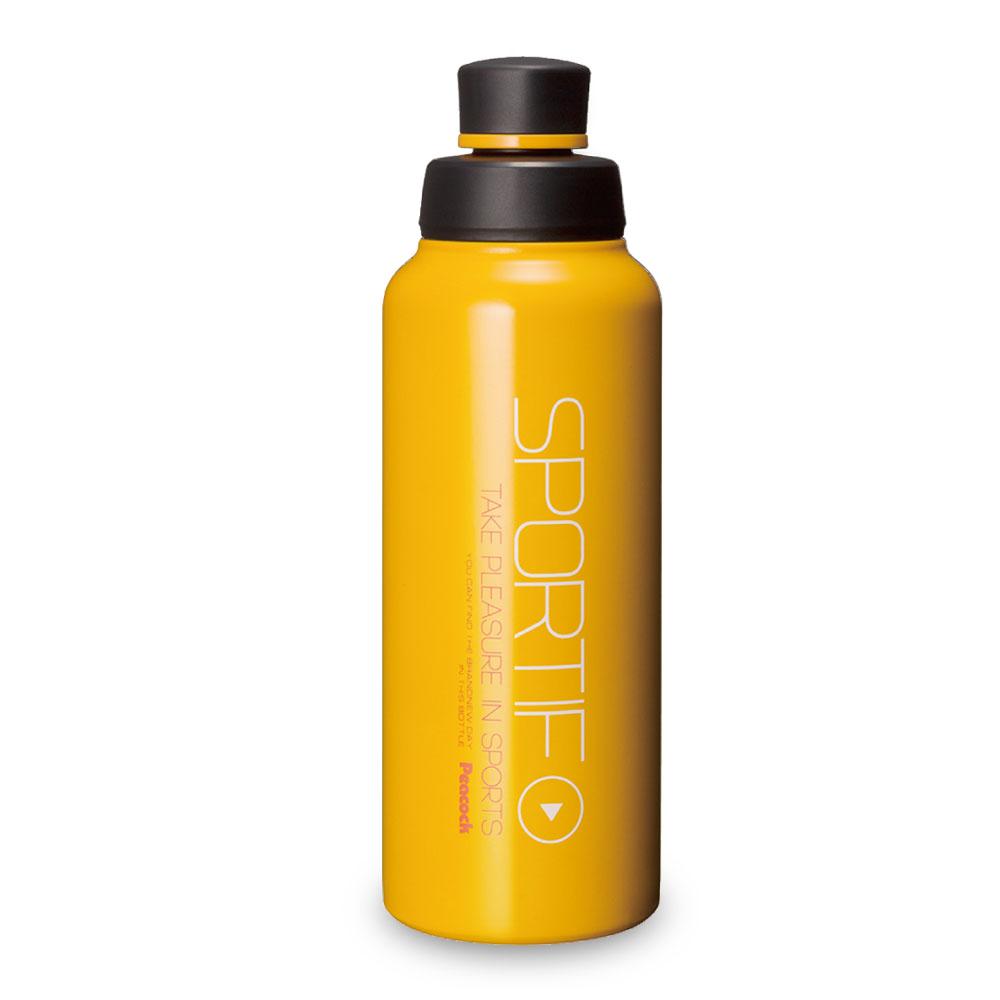 日本孔雀Peacock|運動暢快直飲不鏽鋼保溫杯800ML(掛勾孔設計)-橘黃色