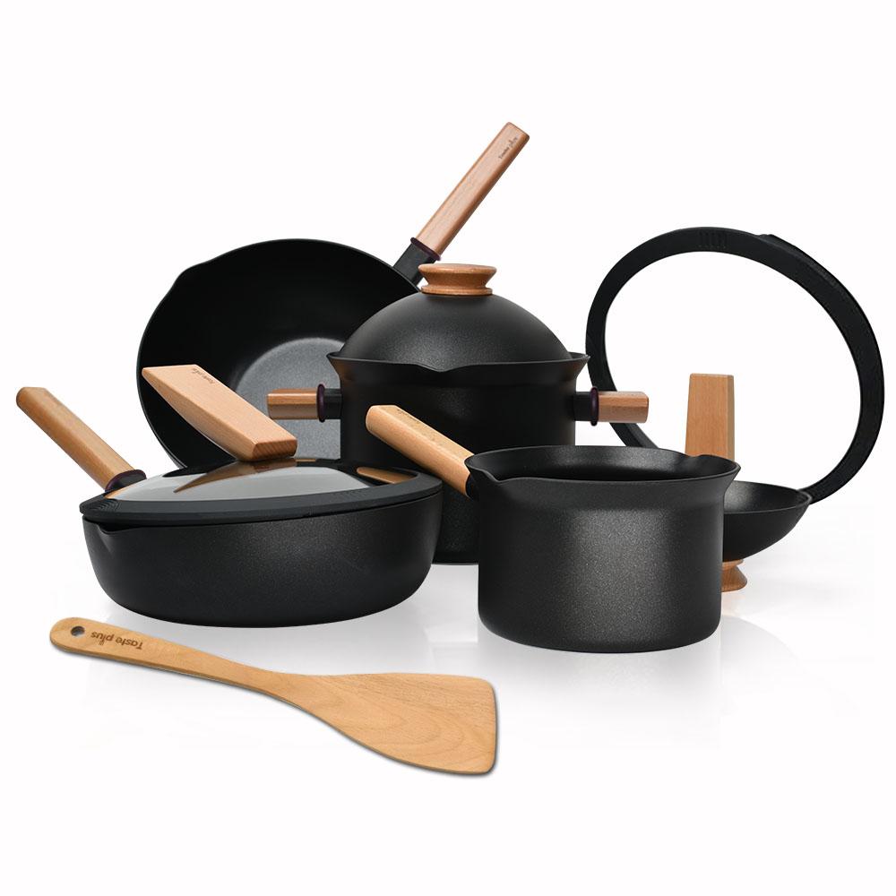 Taste Plus 悅味元木 不沾鍋 平底炒鍋 煎鍋 奶鍋 湯鍋 4件套組(附原廠鍋蓋+木鏟)