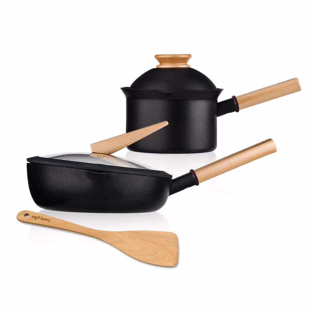 Taste Plus|悅味元木 內外不沾鍋 26cm煎鍋+16cm奶鍋 兩件組 IH全對應設計(附原廠鍋蓋+木鏟)
