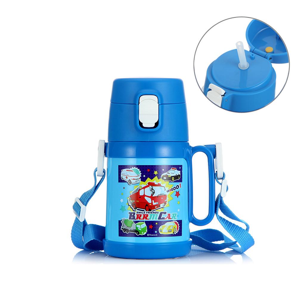 日本孔雀Peacock|兒童隨身316不鏽鋼彈蓋式吸管保溫杯400ML(握把+背帶設計)-藍色