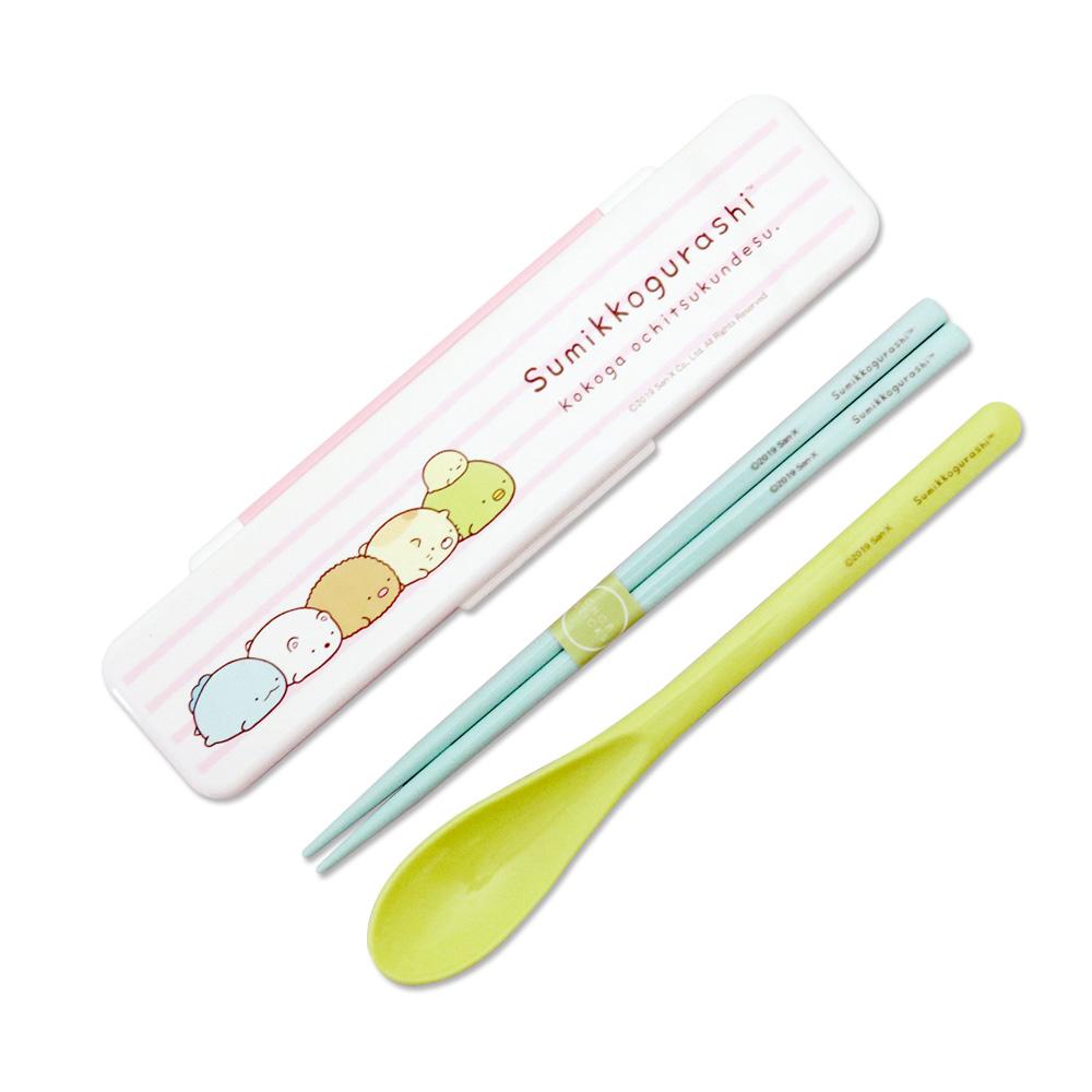 Skater|角落小夥伴 環保筷子+湯匙組 18CM-粉紅條紋
