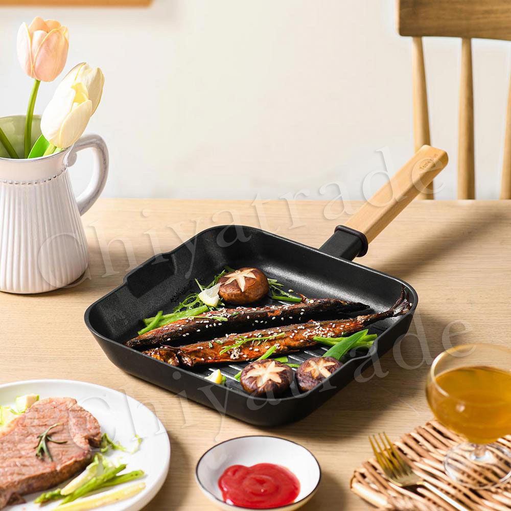Taste Plus 悅味元木 不沾鍋 方型平底鍋 牛排鍋 煎魚鍋 煎盤 烤盤-24cm(IH全對應設計)