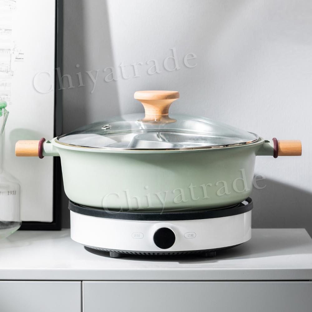 Taste Plus 悅味元木 一體成型不沾鍋 鴛鴦火鍋 湯鍋 蒸煮鍋 燉煮鍋-30cm IH全對應設計