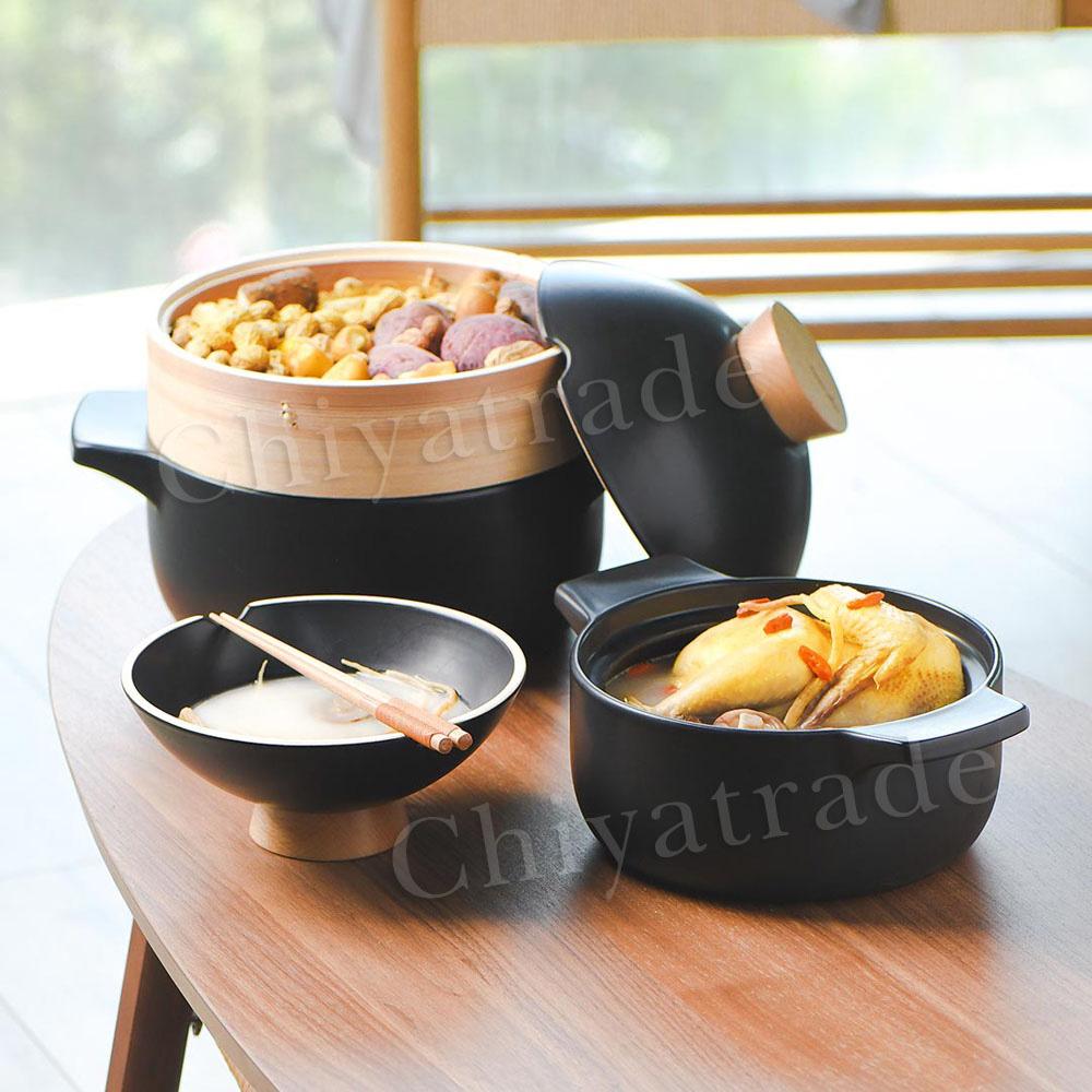 Taste Plus|悅味元石 上蒸下煮 砂鍋 蒸煮鍋 煲鍋 陶鍋 燉鍋 二合一多用途-3.5L(內贈蒸籠)