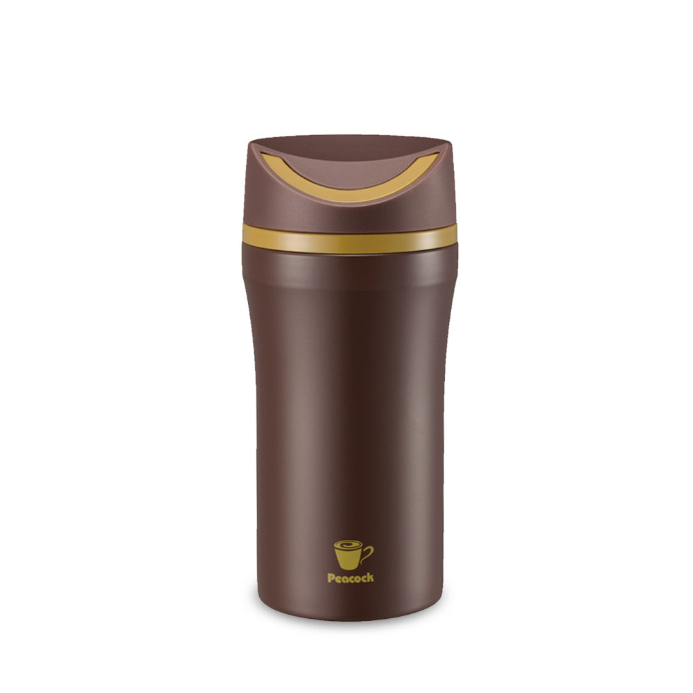 日本孔雀Peacock|316不鏽鋼款-隨行輕量旋轉微笑馬克保溫杯350ml-咖啡
