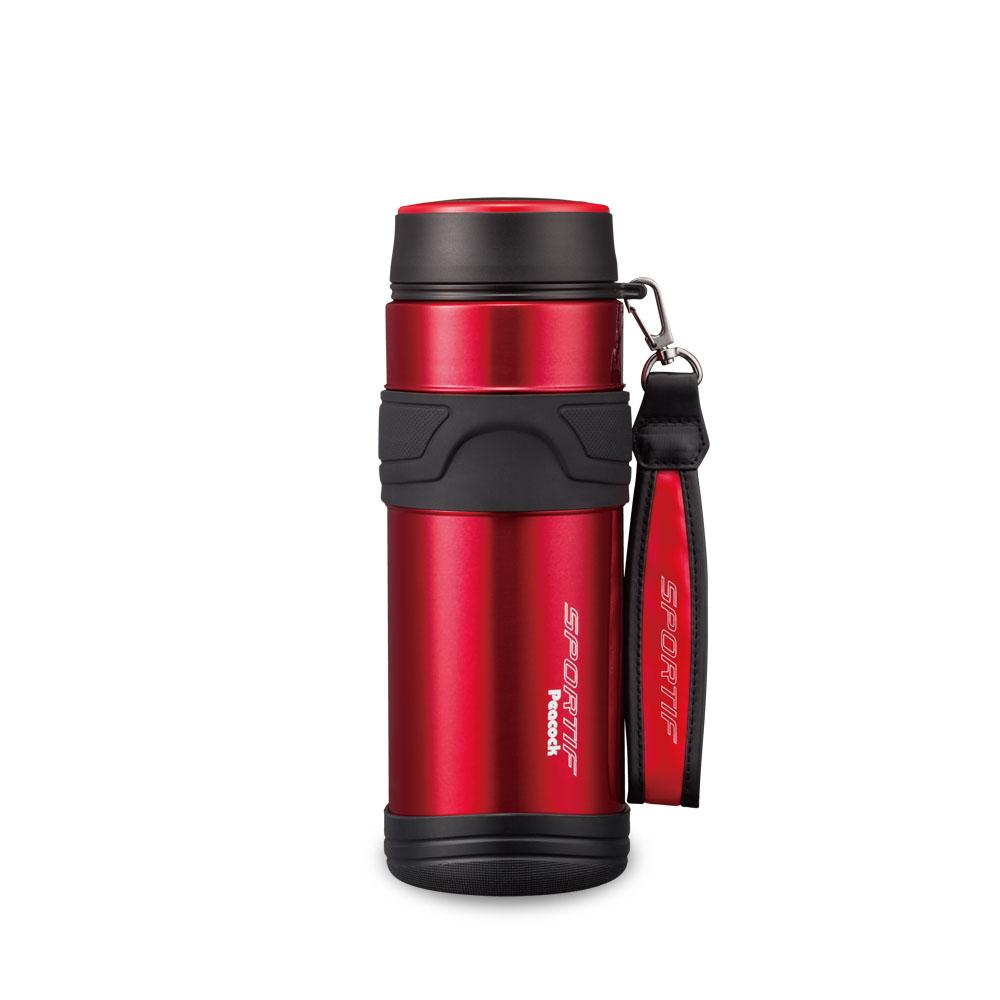 日本孔雀Peacock 運動專家316不鏽鋼保冷保溫杯800ML(附提帶設計)-紅色