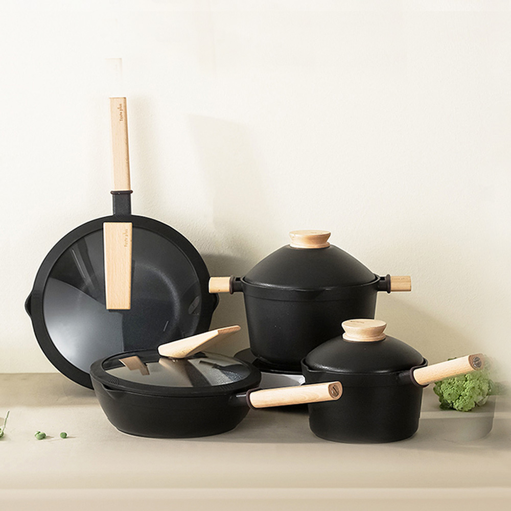 Taste Plus|悅味元木 鑽石塗層 炒鍋+煎鍋+湯鍋+奶鍋 四件組 IH全對應設計(贈鍋蓋+蒸盤+木鏟)