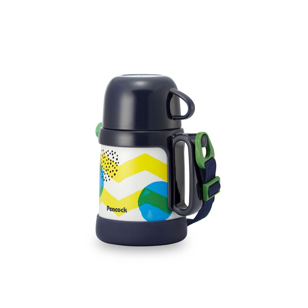 日本孔雀Peacock|耐衝擊 兩用 兒童不鏽鋼保溫杯 水壺400ML(握把+背帶設計)-海軍藍