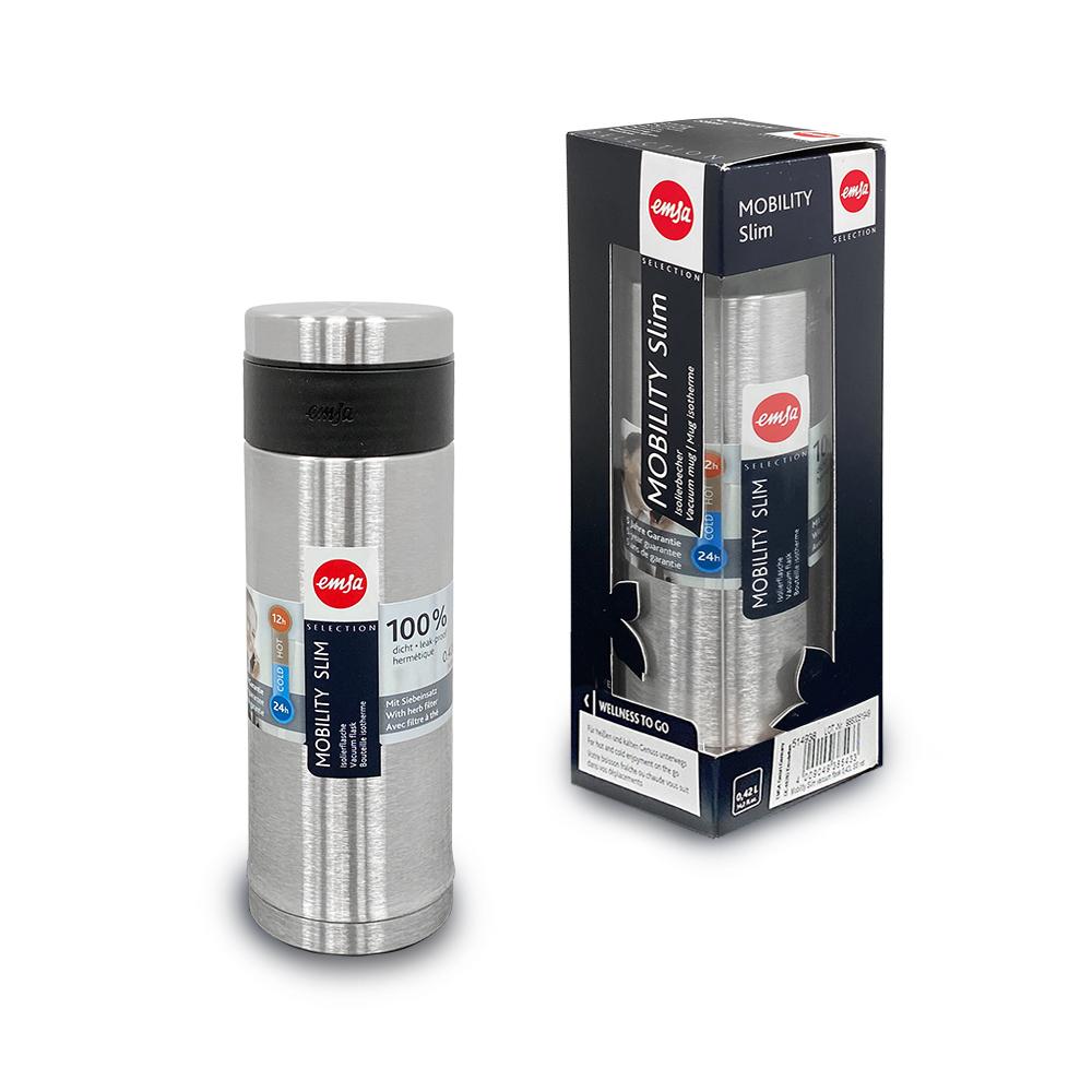 德國EMSA|316不鏽鋼 隨行輕量保溫杯MOBILITY Slim 420ml-原鋼色
