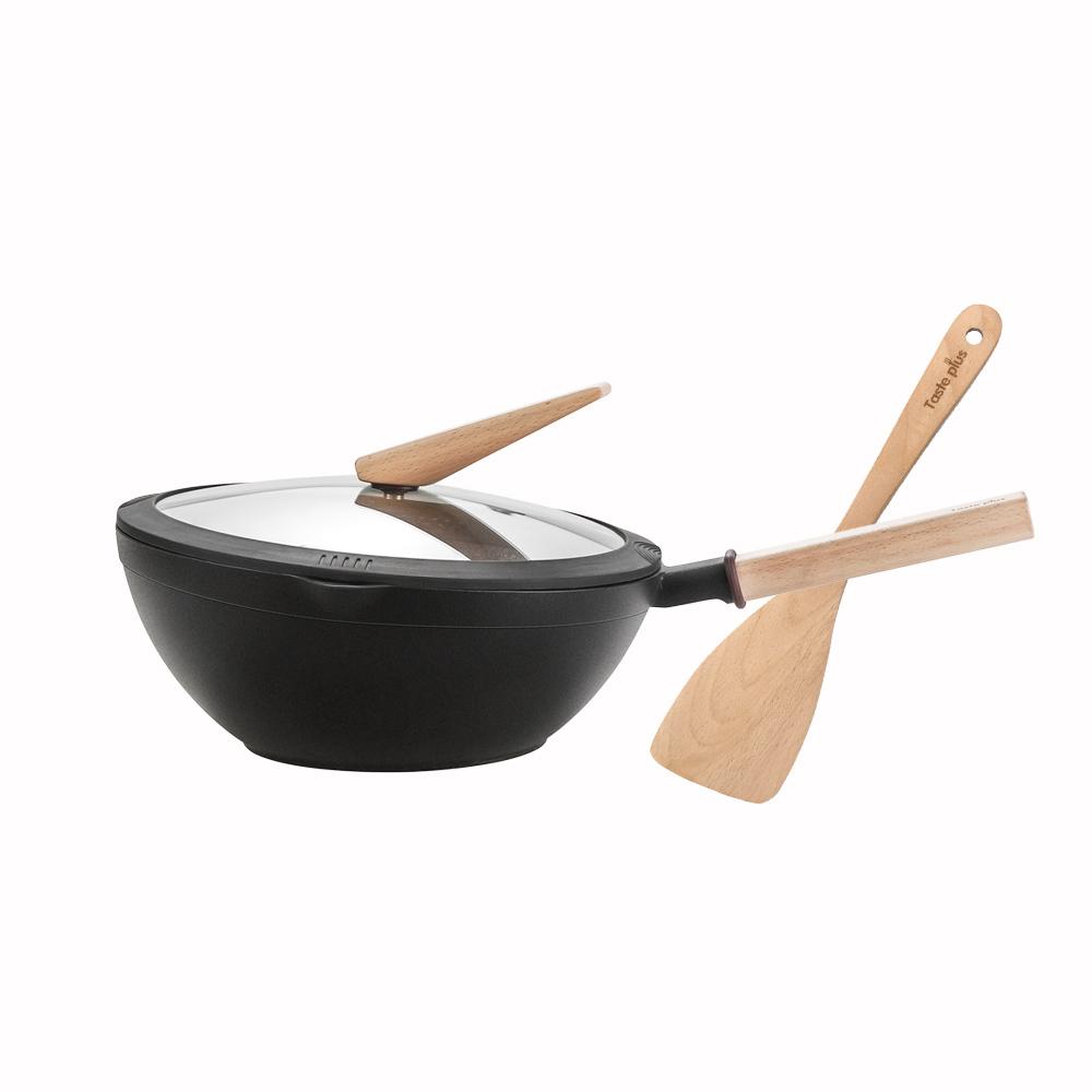 Taste Plus|悅味元木 鑽石級內外不沾鍋 平底炒鍋 30cm(贈原廠鍋蓋+木鏟)