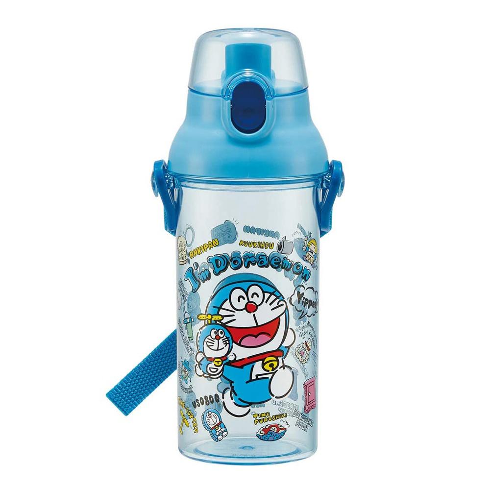 Doraemon 日本製 哆啦A夢 彈蓋直飲水壺 透明隨身瓶 480ML (附背帶)