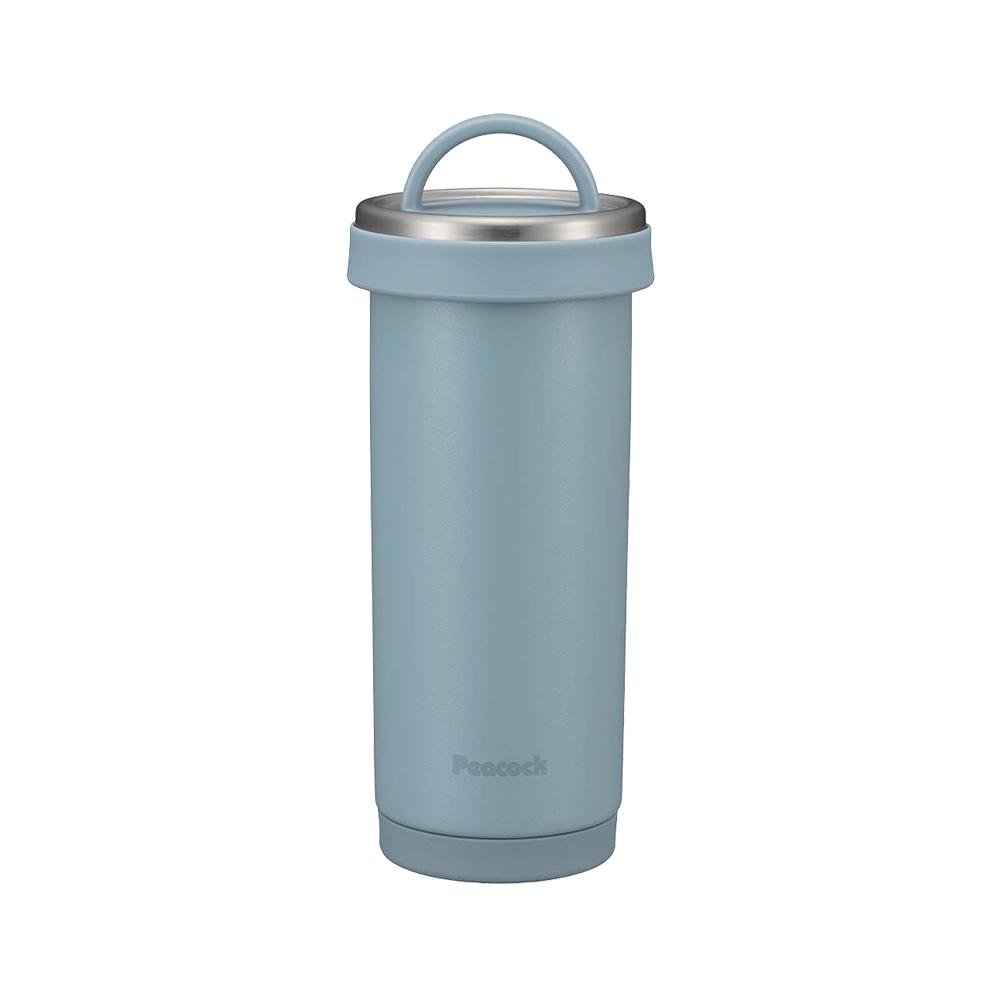 日本孔雀Peacock 316不鏽鋼 手提式City城市 咖啡杯 保冷保溫杯400ML(耐衝擊底座)-煙藍